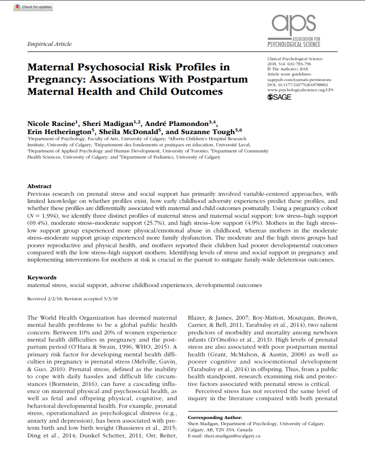 Maternal Health – All Our Families Study